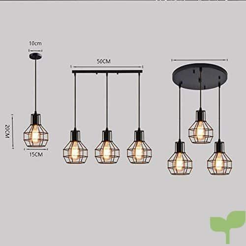 Nclon Industrial Vintage Retro Lámpara de techo,Metal cage Lámpara colgante  Comedor Lámpara colgante E27 Enchufe Exclud de la bombilla-B-3-Lights - ...