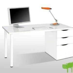 Habitdesign 004604BO – Mesa Ordenador Reversible, Color Blanco Brillo, Medidas: 138x74x60 cm de Fondo