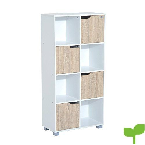 HomCom Estantería Librería Alta para Libros Tipo Biblioteca Organizador Multifuncional – Color Blanco y Roble – 60x30x122cm