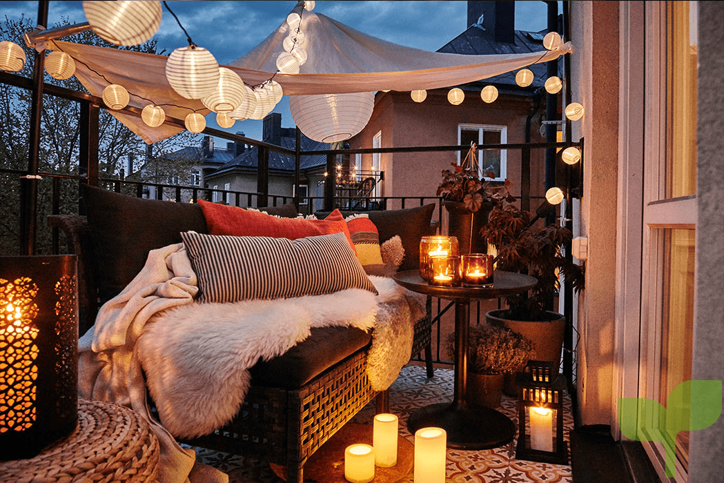 iluminación terraza 2 - Ideas para decorar terrazas pequeñas