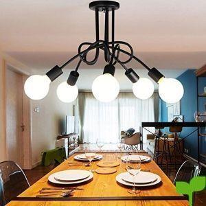 Lamparas de Techo Vintage, DIY de 5 Lámparas del Hierro del metal de las lámparas Lámpara Industrial de la Lámpara de Techo de la Vendimia E27 Salón Retro del Comedor Industrial Dormitorio Hotel Hogar Accesorios de Iluminación