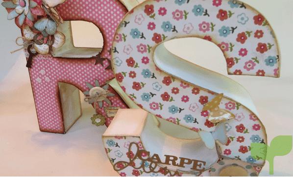letras con telas floreadas 1 - Ideas para decorar letras de madera