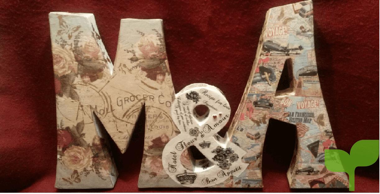 letras de madera con papel - Ideas para decorar letras de madera