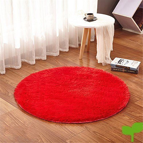 LIYINGKEJI Alfombras Redondas para Niños Alfombras para Niños Juegos Infantiles Sala de Estar Súper Suave Home Shaggy Carpet 60X60 CM (Rojo)