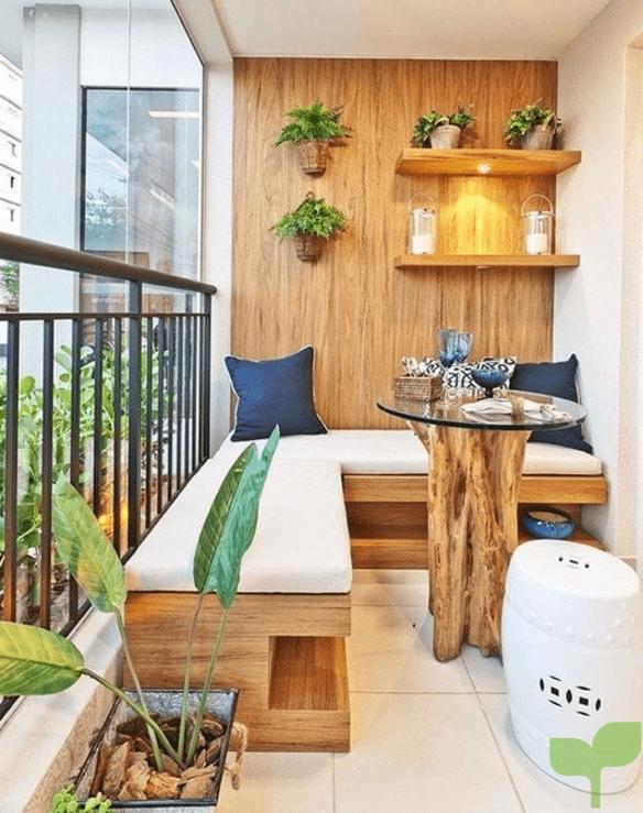 mueble l adherido a la pared 2 - Ideas para decorar terrazas pequeñas