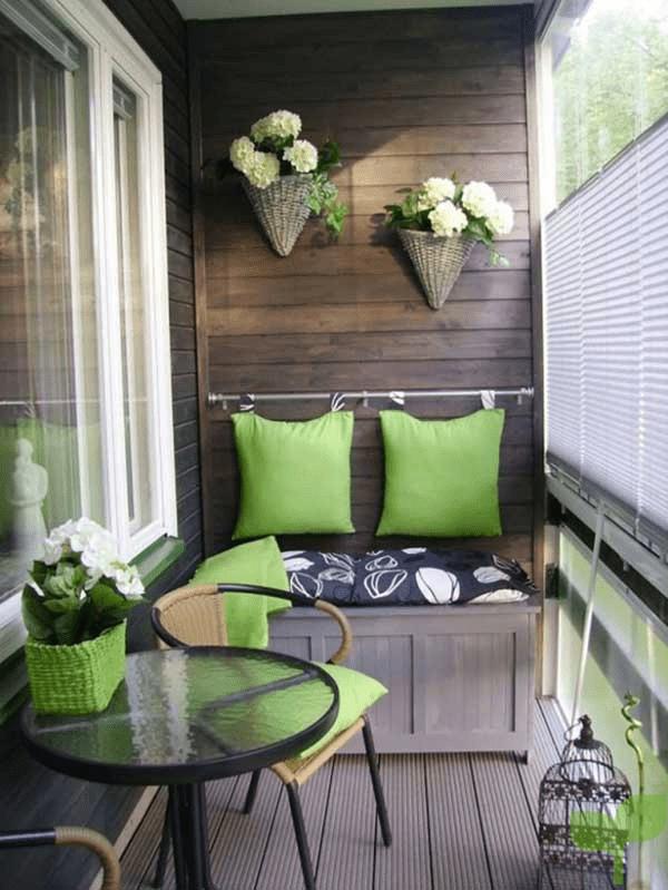 muebles adherido a la pared - Ideas para decorar terrazas pequeñas
