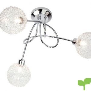 Nino Leuchten 63360306 – Lámpara de techo con bombillas halógenas, de cromo y cristal, 3 bombillas, diámetro de 40 cm, altura de 27 cm