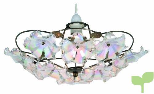 Oaks Lighting Abeba – Lámpara de techo (38 cm, latón envejecido y flores acrílicas)