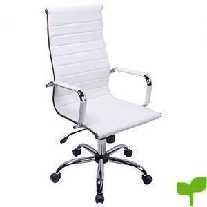 poptoy silla de oficina de piel sintética con respaldo alto curvado altura ajustable color blanco 300x300 - Tienda Decoración Decopot