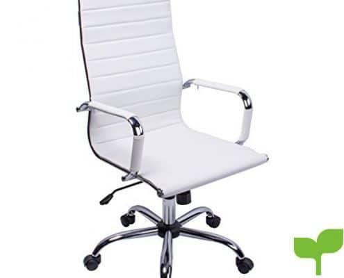 poptoy silla de oficina de piel sintética con respaldo alto curvado altura ajustable color blanco 495x400 - Tienda Decoración Decopot