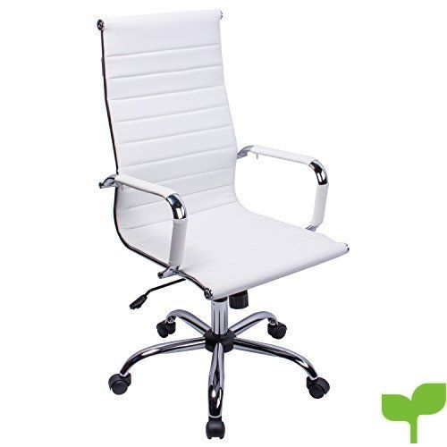 poptoy – Silla de oficina de piel sintética con respaldo alto curvado, altura ajustable, color blanco
