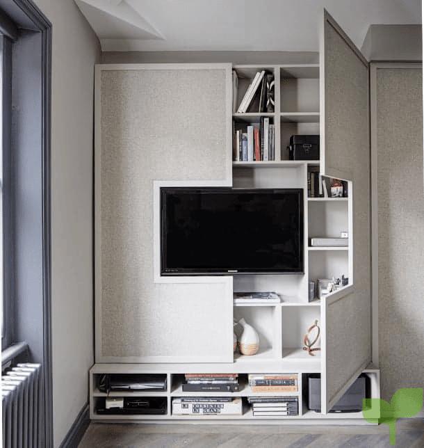 salones con estantes 2 - Cómo decorar un salón pequeño