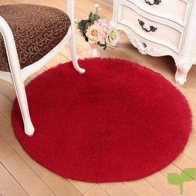 SHINA Sedosa Alfombra Gruesa Redonda Salón esteras de la Silla del Ordenador moqueta de la habitación Mesa de café Cesta (Rojo)