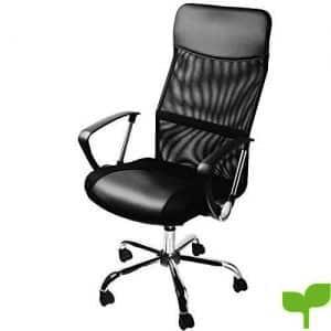 Silla de oficina ejecutiva con ruedas silla de escritorio giratoria en color negro Silla con Respaldo Transpirable – 64 cm x 121 cm (LxH), superficie de asiento: 49 cm x 50 cm (lxp) Piel Sintética/algodón