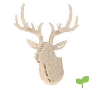 URIJK Decoración de madera para armar, en 3D, con diseño de cabeza de ciervo, para colgar en la pared, Blanco, Tamaño:29.5cmx21cmx37cm