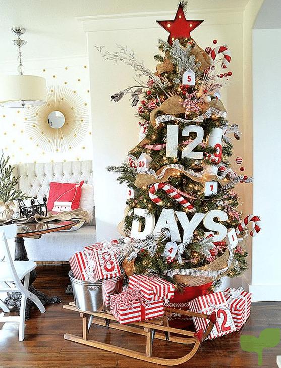 version moderna del arbol tradicional - Ideas para la decoración del árbol de navidad