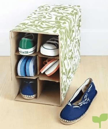 zapatero con cajas de carton 2 - Ideas para decorar con cajas