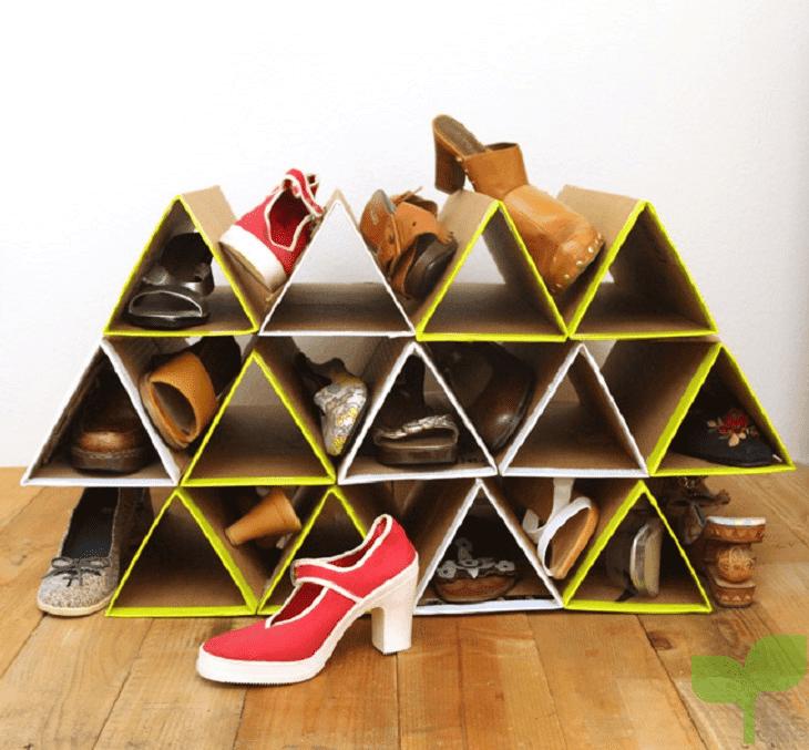 zapatero con cajas de carton - Ideas para decorar con cajas