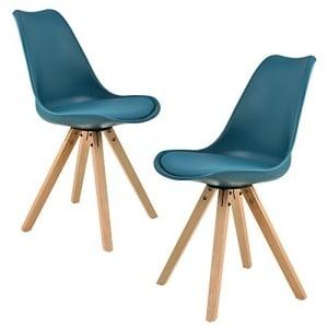 [en.casa]®] 2X sillas de Comedor Color Turquesa tapizadas – sillas de Cocina de Cuero sintético