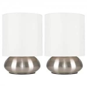 MiniSun – Set de dos modernas lámparas de mesa táctiles cromadas – pantallas de color crema
