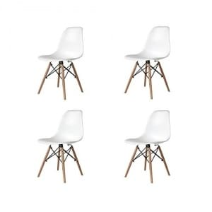 Ventamueblesonline PACK DE 4 SILLAS NÓRDICAS TOWER WOOD BLANCA – RÉPLICA EAMES –