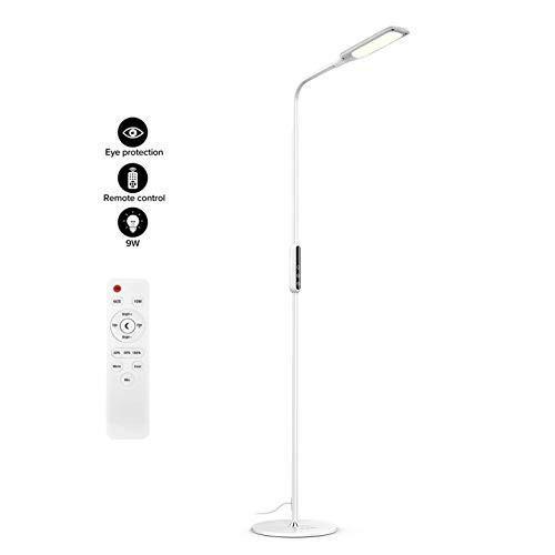NACATIN LED Lámparas Modernas de Pie para Salon, Lámpara de Table Inteligente con el Control Remoto, AC 100V – 240V/ 9W, con Cinco Tipo de Color, Cinco Tipo de la Temperatura de Color Modo de Luz Nocturna y Bajo Consumo (Blanco)