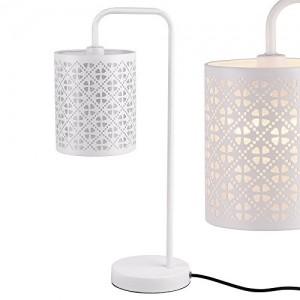 [lux.pro]® Lámpara de mesa moderna blanca de metal – diseño elegante y original