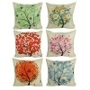 Luxbon Conjunto de 6 Fundas Cojín Almohada Lino Duradero Primavera Árbol Flor Esperanza Seis Colores Decorativos para Sofá Cama Coche 45×45 cm