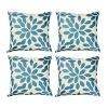 Top finel hojas algodón lino fundas de cojín almohada cuadrado decorativa para sofás Juego de 4 45x45cm Azul