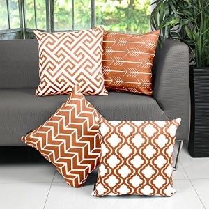 Willow & Smith Juego de fundas de cojín decorativas para sofá (4 fundas de algodón), diseño geométrico naranja