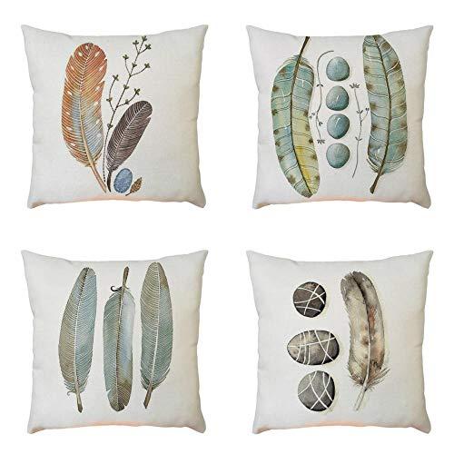 Fundas de Cojines Para Sofa 45×45-4PC/Conjunto Vintage Pluma Funda de almohada de Mezcla de lino para Jardin Cama Decorativo (01)