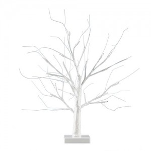 MiniSun – Decorativa lámpara de mesa de estilo bonsái blanco – 24 luces LED blanco cálido y 450mm de alto