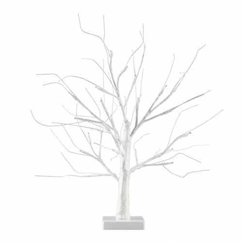 MiniSun – Decorativa lámpara de mesa de estilo bonsái blanco – 24 luces LED blanco cálido y 450mm de alto