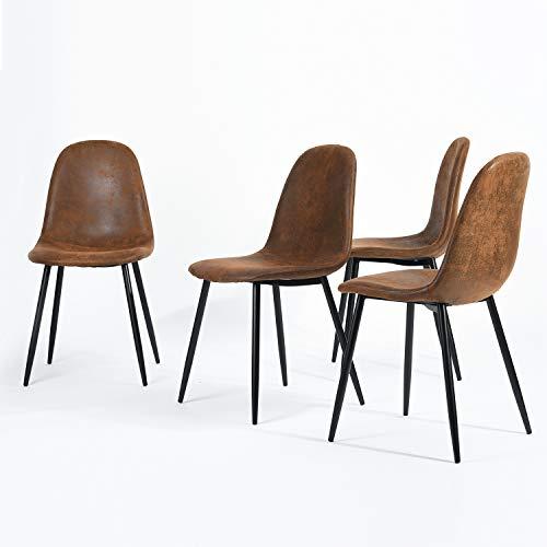 Navy Blue Furniture n.b.f–Juego de 4sillas Scandinaves marrón Comedor sillas de Cocina Vintage en Suede Piel marrón
