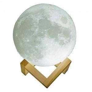 Gadgy ® Lampara de Luna | Original 3D Impreso | USB recargable | 2 Colores de Luz LED Regulable | Luz Noche para Mesa El Cuarto y Hogar Redondo