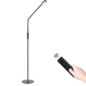 Lámpara de Pie, COCO LED Lámpara de pie Cuello de cisne Altura de Poste Ajustable 5 Temperaturas de Color Regulable de 5 Niveles