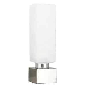MiniSun – Lámpara de mesa táctil regulable 'Chantal' – moderna con forma cuadrada y pantalla de cristal blanco satinado