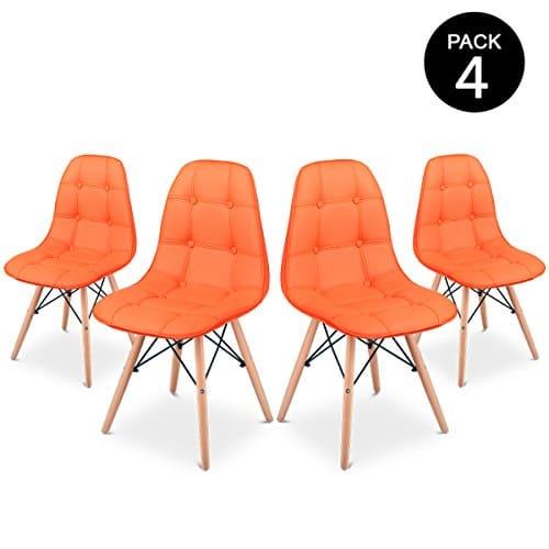 Mc Haus Sena Button Pack 4 Sillas Comedor, Naranja, 66 x 64 x 53 cm