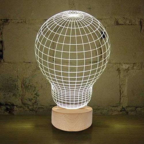Brunoko Lámpara Bulbo 3D de mesa – Luz LED sobremesa para Decoración- Lampara Base de Madera Conexión USB en estilo Nordic perfecto para salon, dormitorio y escritorio – regalos originales de Fiesta