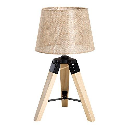 HomCom Lámpara de Mesa Moderna y Original con Base Trípode de Madera y Pantalla de Tela Lino – 24x24x45cm