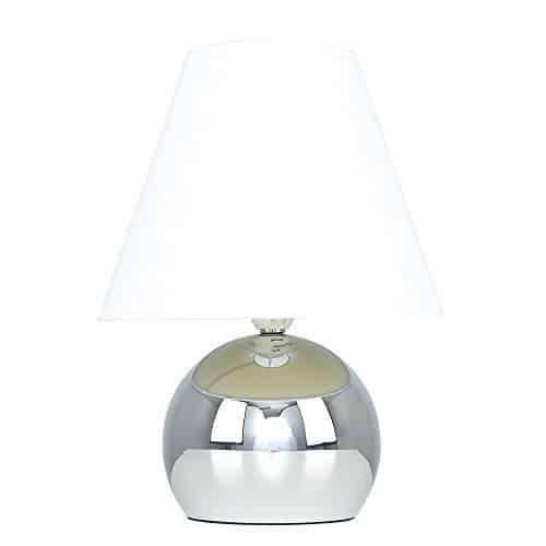 MiniSun – Lámpara de mesa táctil 'Doriane' – con bello acabado cromado y pantalla blanca