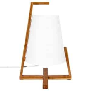 Lámpara de mesa original y de diseño – Pie en bambú y pantalla de aspecto fibra de vidrio.