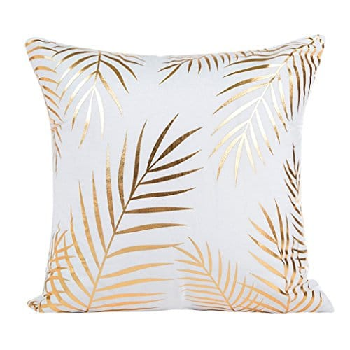 Funda de cojín de almohada, SKY Gold Foil Impresión Sofa almohada de la caja de la cintura Cojín Cojín Cover Home Decor 45cmX45cm (D)