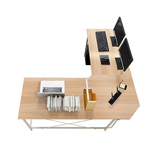 sogesfurniture Escritorio de Computadora en Forma de L, 150cm + 150cm Mesa de Ordenador Mesa de Estudio Estación de Trabajo, Mesa Esquinera para Casa, Oficina, Arce Blanco LD-Z01MO-BH