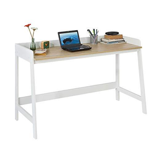 SoBuy Mesa de Escritorio, Mesa de Ordenador con un Estante,Color Blanco, L 125 x H 80 cm,FWT41-WN,ES