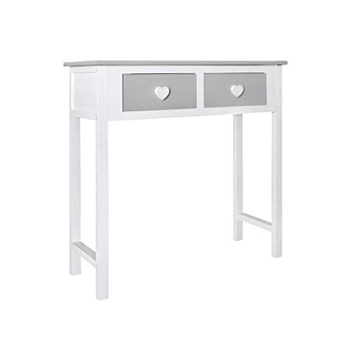 Rebecca Mobili Consola gris, mesa escritorio para el dormitorio, madera, estilo shabby, sala de estar pasillo – Medidas: 80 x 80 x 30 cm ( AxANxF) – Art. RE4193