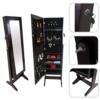 Todeco – Mueble para Joyas con Espejo, Organizador con Espejo – Material: Vidrio – Tamaño del Espejo: 1086 x 255 x 3 mm – 120 x 38 x 9 cm, Marrón, Soporte de Suelo
