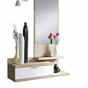 Habitdesign 016744W – Recibidor con un cajón y espejo, mueble entrada color Blanco Brillo y Nature modelo Dahlia, medidas: 116 x 81 x 29 cm de fondo