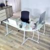 Escritorio en L Mesa de Ordenador Esquinero para Despacho Habitación Juvenil o Estudio para Hogar u Oficina Esquinero, Cristal Blanco