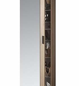 Habitdesign 007866F – Armario zapatero con espejo, color Roble Natural, medidas: 180 x 50 x 20 cm de fondo
